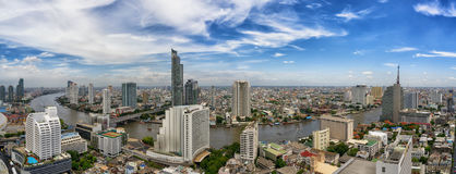 Bangkok city and Chao Phraya river panorama Royalty Free Stock Photo