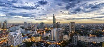 Bangkok city and Chao Phraya river panorama view Stock Images