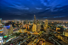 Bangkok city and Chao Phraya river in twilight time Stock Photos