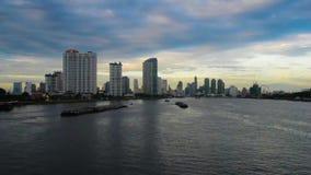 Bangkok City at chao Phraya River. Twilight view stock video