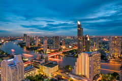 Bangkok city beside of Chaophraya river at twilight scene., Bangkok of Thailand Stock Photography