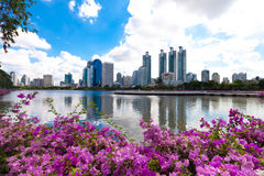 Bangkok city downtown and business district cityscape from a par Royalty Free Stock Photos