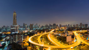 Bangkok city downtown and highway curved Stock Photo