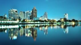 Bangkok city downtown at night Stock Image