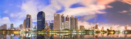 Bangkok city downtown in panorama view at sunrise, Thailand. Royalty Free Stock Photos