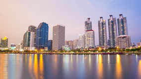 Bangkok city downtown and public park twilight with reflection  Royalty Free Stock Photography
