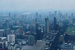 Bangkok city at dusk. Aerial view of Bangkok city at dusk Royalty Free Stock Photo