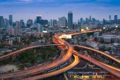 Bangkok city at dusk, Thailand. Stock Photos