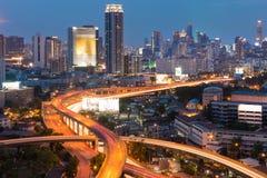 Bangkok city at dusk, Thailand. Royalty Free Stock Photos