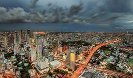 Bangkok city at dusk and transportation Royalty Free Stock Photos