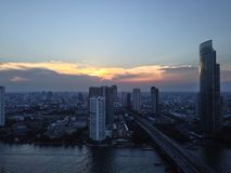Bangkok city landscape. Landscape from abandon building the view you can see Chao Phraya River Stock Photo