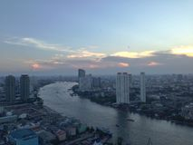 Bangkok city landscape. Landscape from abandon building the view you can see Chao Phraya River Stock Images