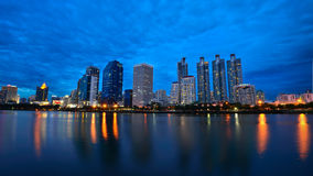 Panorama Bangkok City Of Light. Bangkok City Of Lighting & Blue Sky Royalty Free Stock Images