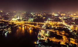 Bangkok city with main traffic at night Stock Photo
