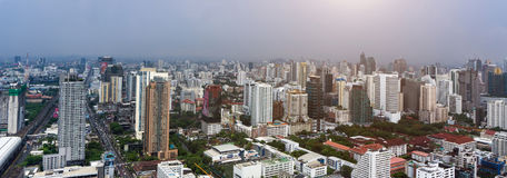 Bangkok city and modern office buildings in Aerial view Stock Photography