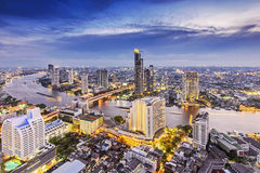 Bangkok city at night. Aerial view of Bangkok city with Chao Phraya river during sunset
