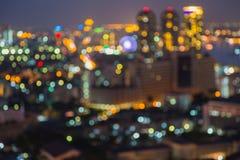 Bangkok city night light bokeh Stock Photo