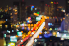 Bangkok city night light bokeh , defocused blur background Stock Images