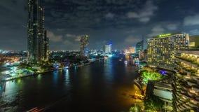 Bangkok city night light chao phraya traffic river hotel bay roof top 4k time lapse thailand stock video