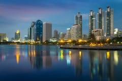 Bangkok city. At night with reflection in lake, Bangkok,Thailand Stock Photography