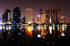 Bangkok city at night with reflection of skyline, Royalty Free Stock Photo