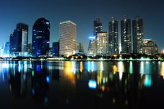 Bangkok city at night with reflection of skyline, Stock Photos