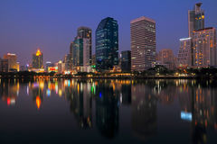 Bangkok city at night with reflection of skyline, Bangkok,Thailand Stock Image