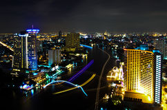 Bangkok City at Night, Thailand. Royalty Free Stock Photos