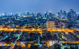 Bangkok city at night, Thailand.  stock images