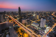 Bangkok City at night time, Hotel and resident area in the capit Stock Images