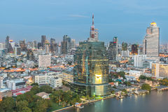 Bangkok City at night time, Hotel and resident area in the capit Royalty Free Stock Images