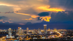 Bangkok City at night time, Hotel and resident area in the capit Stock Photography