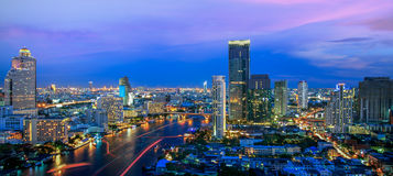 Bangkok City at night time Royalty Free Stock Images