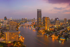 Bangkok City at night time Stock Photography