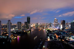 Bangkok City at night time Royalty Free Stock Photos
