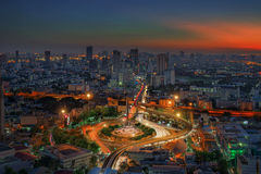 Bangkok city night view with main traffic high way Royalty Free Stock Images