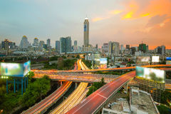 Bangkok city in night view with main traffic, Thailand Stock Photo