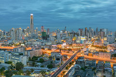 Bangkok city in night view with nice sky, Thailand Stock Photography