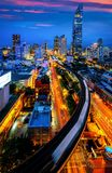 Bangkok city night view from Silom Business center Royalty Free Stock Photography