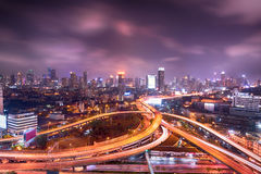 Bangkok city night view Thailand. Bangkok cityscape night view with twilight sky, expressway and highway top view, Thailand Stock Photography