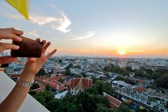 Bangkok City overview at Temple of the Golden Mount. Bangkok Thailand Royalty Free Stock Photography