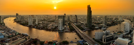 Bangkok city. Panorama of Bangkok city at sunset Stock Image