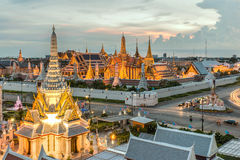 Bangkok City Pillars Shrine and Wat Phra Kaew.  stock photo