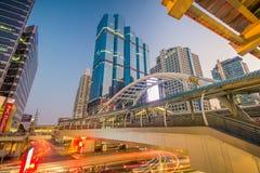 Bangkok city - Public skywalk in business Area Royalty Free Stock Photography
