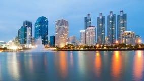 Bangkok city with reflection of skyline Royalty Free Stock Photography