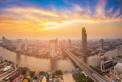 Bangkok city river curved aerial view with sunset sky background Stock Image