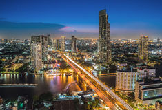 Bangkok City and the river,Hotel and resident area in the capita Stock Photo
