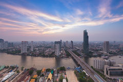 Bangkok City and the river Hotel and resident area after sunset Stock Image