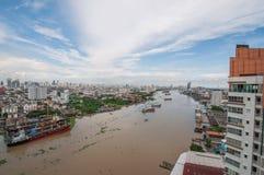 Bangkok city of river. The landscape of Chaopraya river and city view of Bangkok Stock Photo
