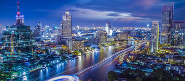 Bangkok city. River in Bangkok city in night time with bird view Royalty Free Stock Images